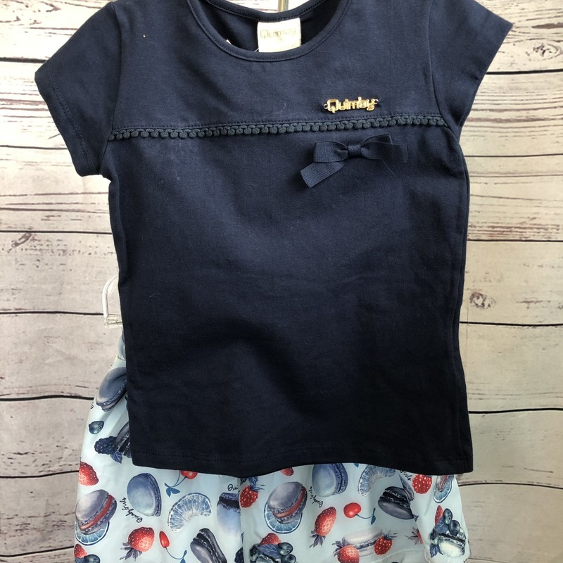 NEW Quimby 2 piece outfit.  The shirt has capped sleeves and is navy.  The skirt has cherries, strawberries, raspberries and cookies, the skirt also has built in shorts underneath.  Super cute!
