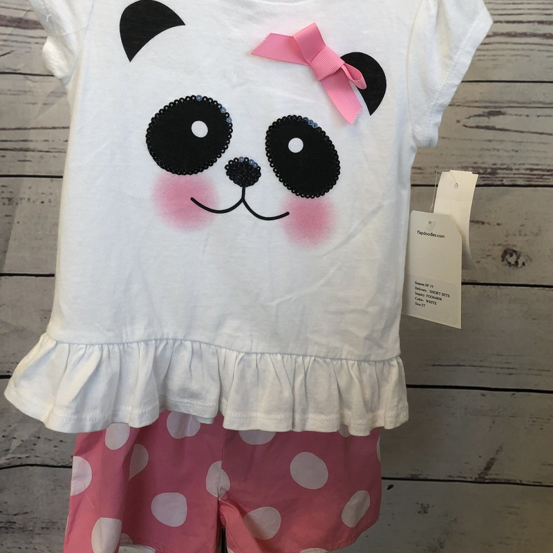 NEW Flapdoodles 2 piece outfit.  Look at the adorable panda with dotted shorts.  We love the 3  bows down the back of the shirt.