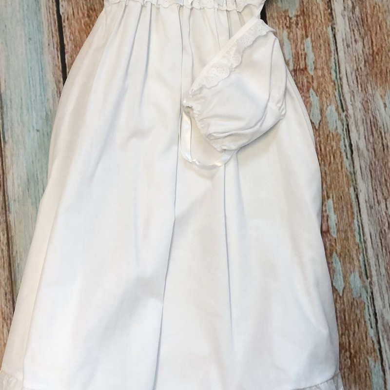 NEW Zazzy Christening gown with matching hat and blanket.  This gown is simple but elegant.  The neck, hem of the sleeves, the hem of the dress and the trim aroung the hat and blanket are all trimmed with eyelet.
