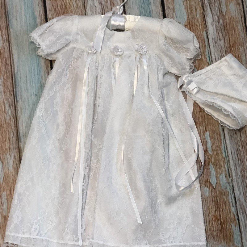 NEW Children's House Christening gown with matching hat.  This dress is elegant with lace covering the entire dress and hat.