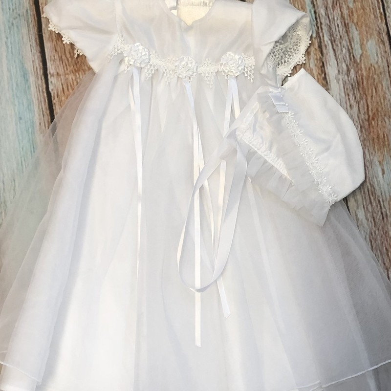 NEW Children's House Christening Gown with matching hat. This dress has three roses acorss the front.