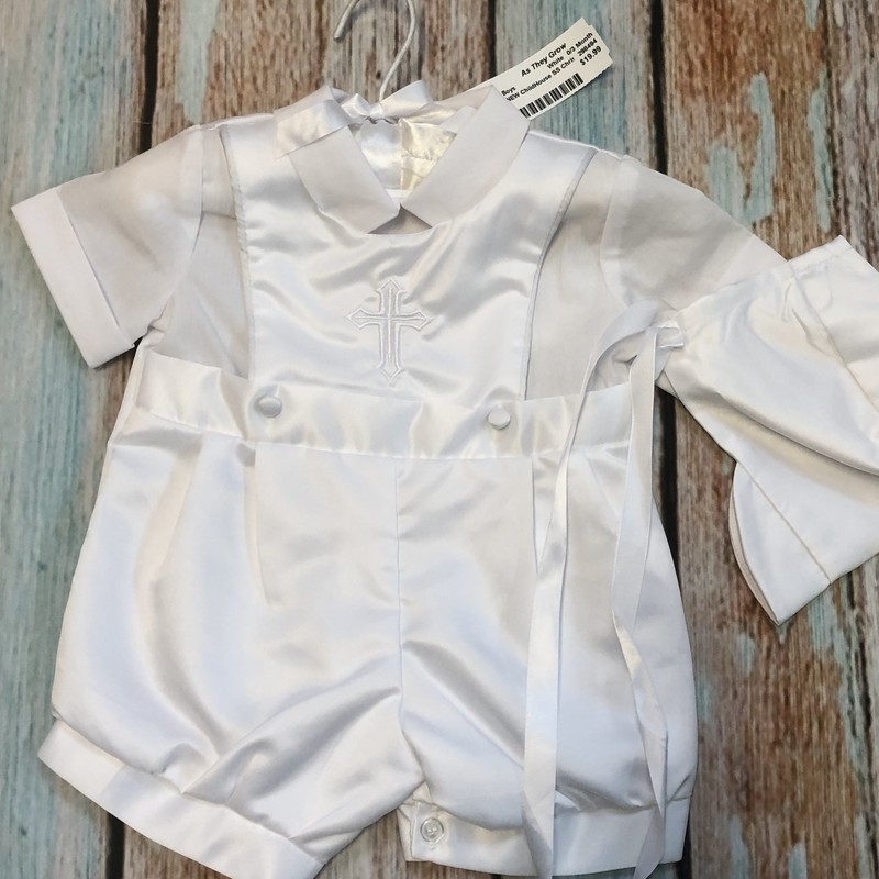 NEW Children's House Christening outfit.  This outfit has button between the legs to make diaper changing easier and comes with a matching hat.