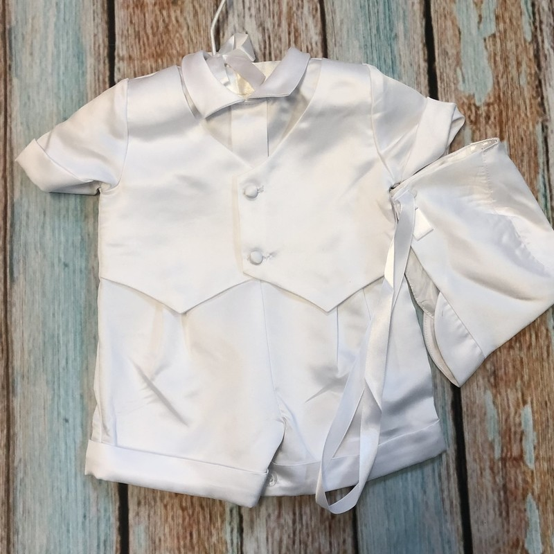 NEW Children's House Christening outfit.  This outfit is one piece with buttons between the legs to make diaper changing easier.  This also comes with a matching hat.