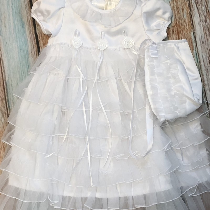 NEW Children's House Christening gown with matching hat and blanket.  This dress has beautiful organza ruffles all the way down. The hat and blanket also have organza ruffles.