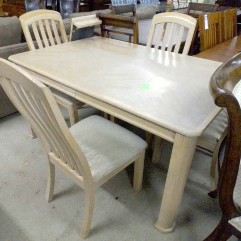 DINING TABLE/LEAF/4 CHAIR, None, Size: None