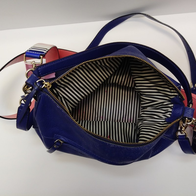 Kate Spade<br /> Navy Leather Handbag<br /> With Stripe Strap &amp;Tassels