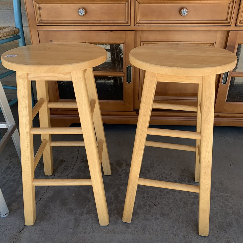 Pair Barstools, Blond, Size: None