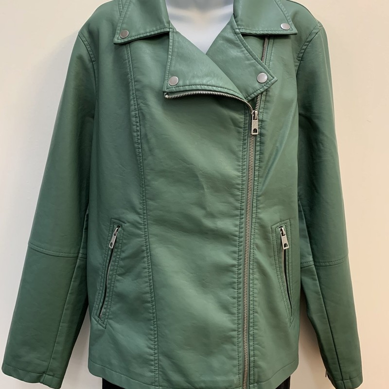 NEW Style &amp; Co Jacket<br /> Faux Leather<br /> Forest, Size: 2X