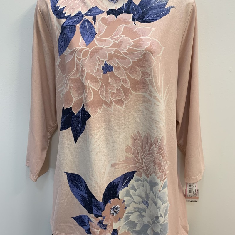NEW Charter Club floral Top<br /> Blush &amp; Navy<br /> Size: 2X