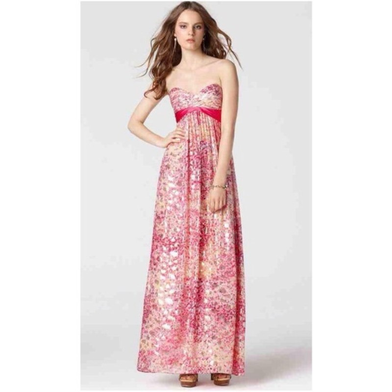 "BCBG ""Kai"" floor length gown, Begonia combo, size 6, like new, Orig. rtl: $448"