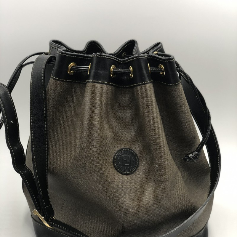 "Fendi Vintage Bucket, Gry.Blk, Size: L<br /> <br /> Condition: GOOD. Very slight scuffing around bottom, creasing on strap from buckle<br /> <br /> 12""H x 12""W x 5""D, 14""-17"" adjustable strap drop"