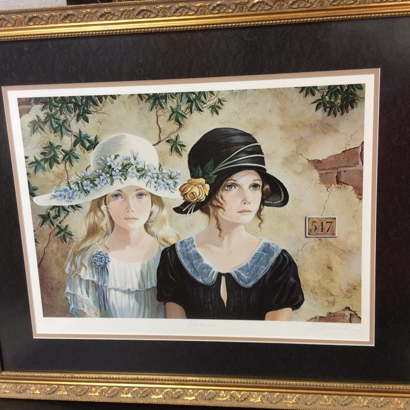 Another lovely signed BANNISTER print that is also beautifully matted and framed. It depicts 2 young ladies all dressed up and wearing hats, in front of an adobe building. There is a COA on the back, as well.