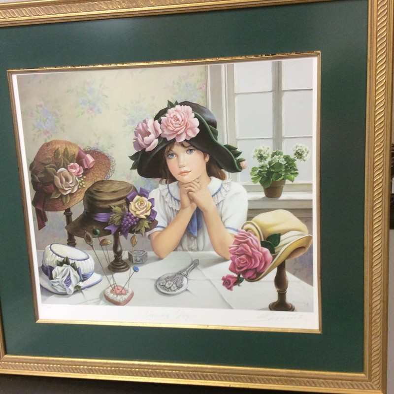 This is the 3rd and final signed BANNISTER print that we received. It depicts a young girl sitting at a table trying on hats. It, too, has a COA on the back