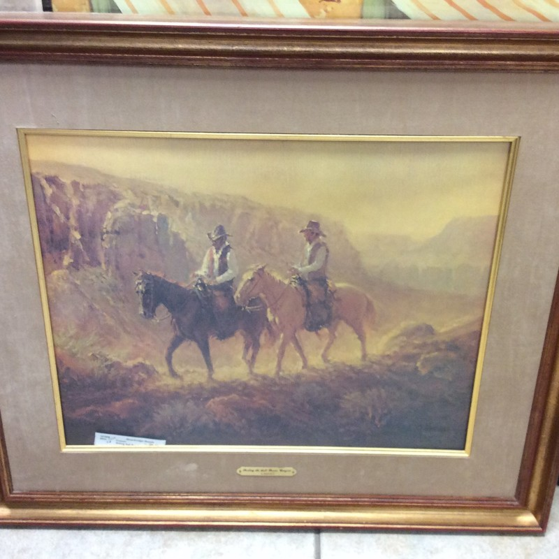 This handsome signed G. HARVEY print features lovely earth tones and is matted with taupe ultrasuede. These prints are always big sellers here, and I expect this one will be no different. There is a COA on the back.
