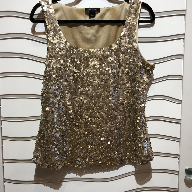 St. John Sequin Top, Gold, Size: 10