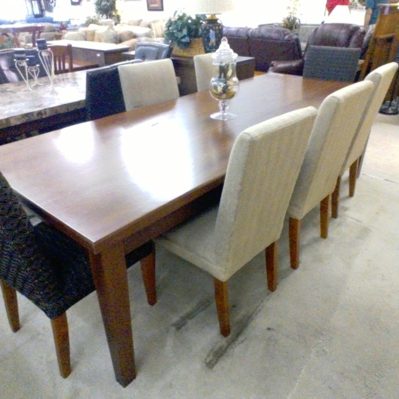 DINING TABLE W/ 7 CHAIRS, None, Size: Large