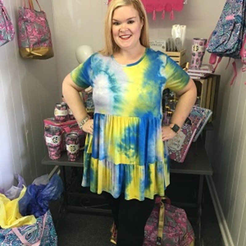 Our Blue Tie Dye Tunic is now available and looks gorgeous on. You can wear this to any occasion. The material has a lot of stretch made of 95% Rayon 5% Spandex with a length of 31 inches.