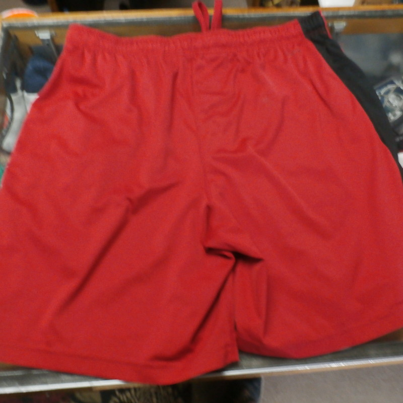 "Russell red athletic shorts size Large 100% polyester #29133<br /> Rating: (see below) 4- Fair Condition<br /> Team: n/a<br /> Player: n/a<br /> Brand: Russell<br /> Size: Men's Large- (Measured Flat: Across waist 18""; Length 20"" inseam 8"")<br /> Color: red<br /> Style: elastic waistband with drawstring; pockets<br /> Material: 100% polyester<br /> Condition: 4- Fair Condition: loose threads on waistband; numerous stains; minor wear (see photos)<br /> Item #: 29133<br /> Shipping:FREE"