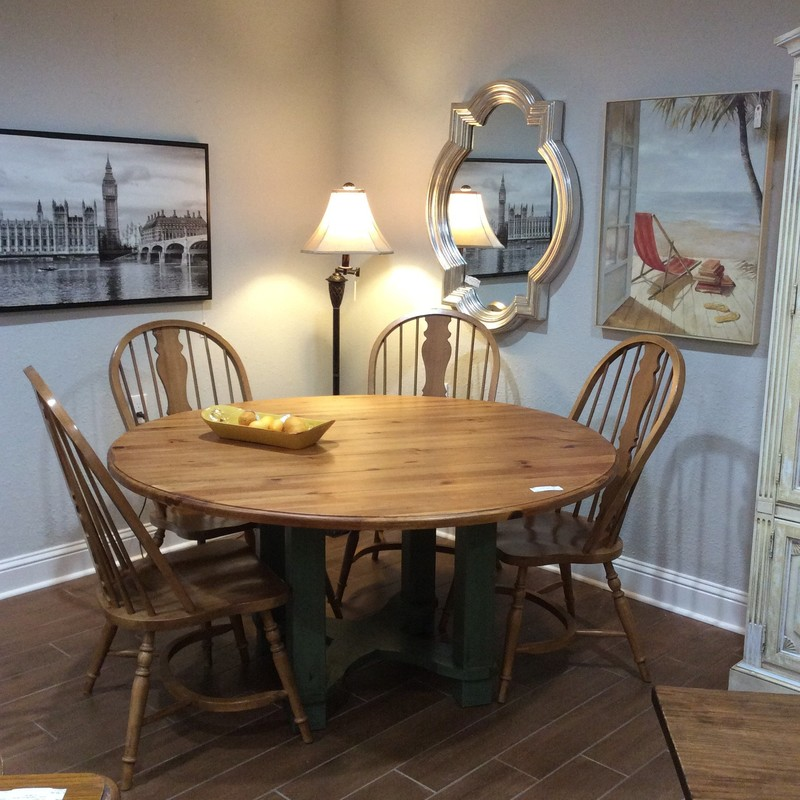 "This is an awesome dining room set! Large at 60"", it has a base which has been painted a sage green and lightly distressed. The table top is plank style and pine. It includes 4 chairs and is in very good condition. Drop-leaf on both sides."