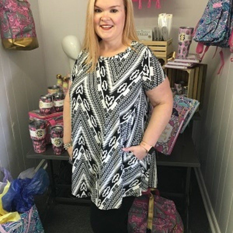 Our Side Pocket Aztec Tunic is now available and looks amazing on. You can wear this to any occasion. The material has a lot of stretch made of 95% Polyester and 5% Spandex with a length of 32 inches.