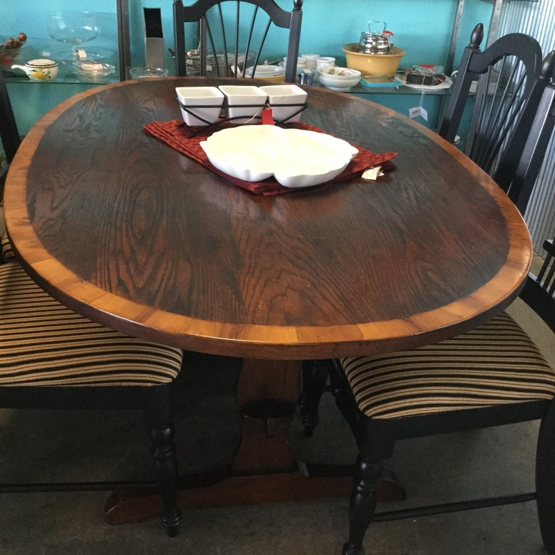 "Antique Oval Table - from Vail, Trestle, Size: 60"" X 39"" X 29"""
