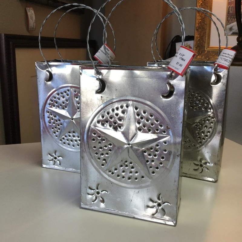 "Punched Tin Votive Holder, Silver, 3 Available, Size: 6""X3""X9"""