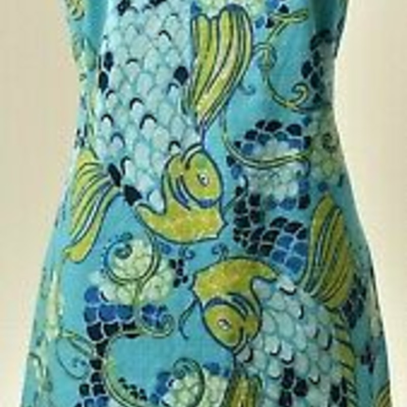 Lilly Pulitzer EUC  Blue Coastal Koi Fish Stephanie Shift Dress, size 14,