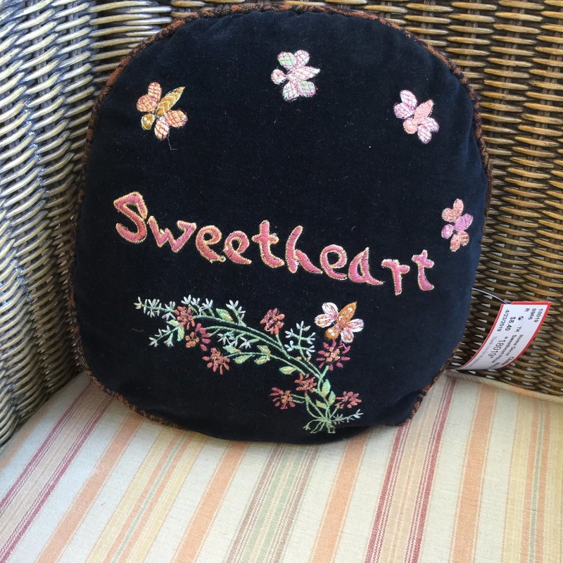 "Let them know they are loved with this little pillow. Diameter is 10""."