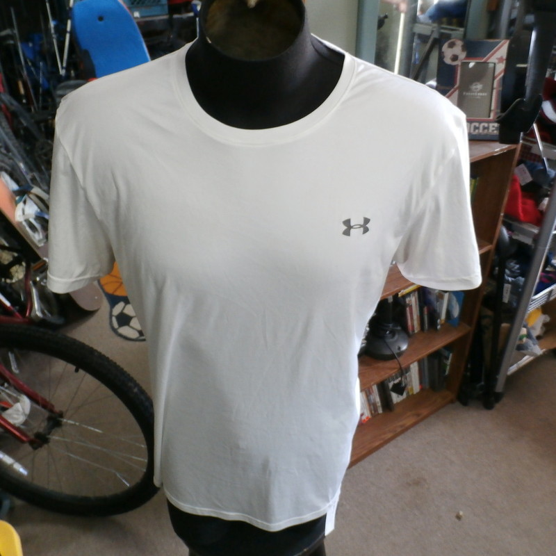 "Under Armour white men's athletic shirt size XL 100% polyester #29969<br /> Rating: (see below) 4- Fair Condition<br /> Team: n/a<br /> Player: n/a<br /> Brand: Under Armour<br /> Size: Men's XLarge- (Measured Flat: Across chest 21""; Length 29"")<br /> Measured Flat: underarm to underarm; top of shoulder to bottom hem<br /> Color: white<br /> Style: short sleeve; screen printed<br /> Material: 100% polyester<br /> Condition: 4- Fair Condition: minor wear from use and washing; dark sweat stains in armpits; ring around the collar; material is dingy and discolored (see photos)<br /> Item #: 29969<br /> Shipping: FREE"