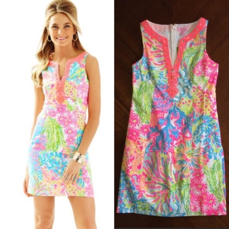 "NWT Lilly Pulitzer Ryder Shift dress<br /> ""<br /> The Ryder Shift is simply LILLY. This bra-friendly printed shift dress has a notched neckline with beading details. When planning a spring getaway, be sure to pack an easy printed shift, you'll be surprised how many times you wear it.<br /> Shift Dress With Cording And Beading Details Around A Notched Neckline.<br /> 20"" From Natural Waist To Hem.<br /> Vintage Dobby (100% Cotton).<br /> Hand Wash Cold."""
