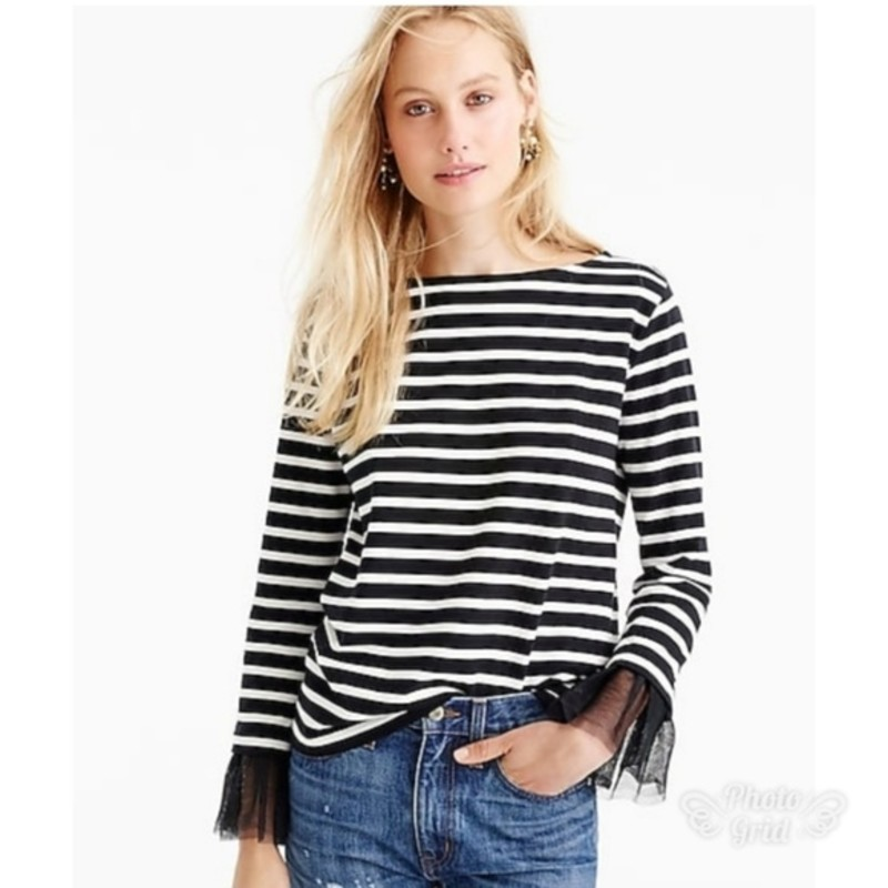 "J. Crew, EUC Tulle Cuffed Stripe T-Shirt, size Large black and cream.<br /> <br /> ""Not your ordinary striped tee, thanks to tulle-lined cuffs.<br /> <br />     Cotton.<br />     Hand wash.""<br /> <br /> Photo and descripiton credits: jcrew.com"