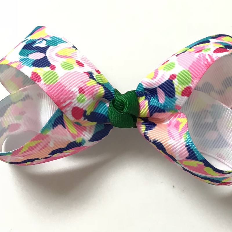 Lilly Pulitzer INSPIRED bows.<br /> <br /> Please call us at the store 610-325-3500 or email us at KidsSweetRepeatsInfo@gmail.com to order.<br /> <br /> Small size $4<br /> Meidum size $5<br /> Large size $6<br /> <br /> Shipping is $4 if only purchasing bows. No extra shipping charge if adding to your existing order.<br /> <br /> These are handmade bows. The edges have been sealed to prevent fraying.<br /> <br /> We can accomodate custom requests or large orders. Please allow extra processing time.