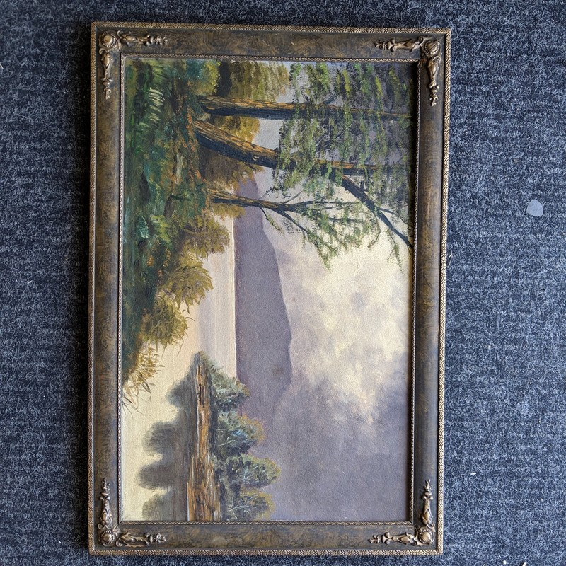 Framed Landscape Painting, Multi, Size: 24x16