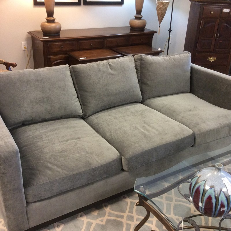 "Identical to the aforementioned custom Bernhardt sofa! This one is it's mate! Modern in design with clean, simple lines it speaks quality, luxury and comfort yet says ""home"".  It's a stunning 3-seater upholstered in the same blue/gray velvety fabric. Come by soon!"