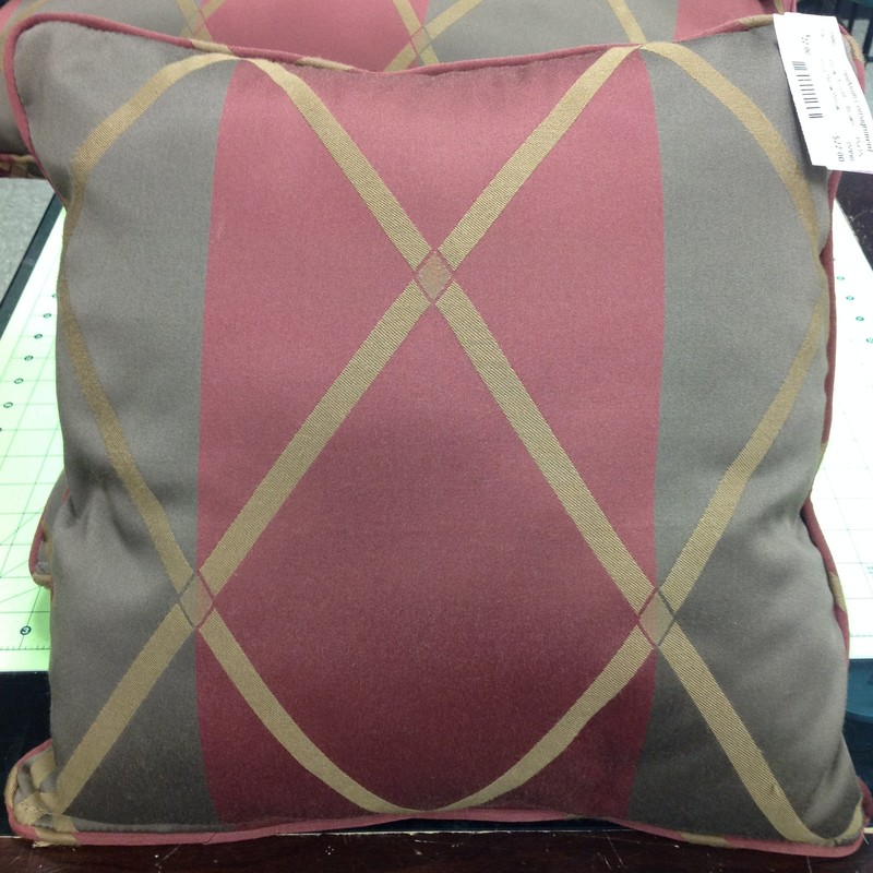 Plaid Throw Pillow, Brown, Size: 15x15