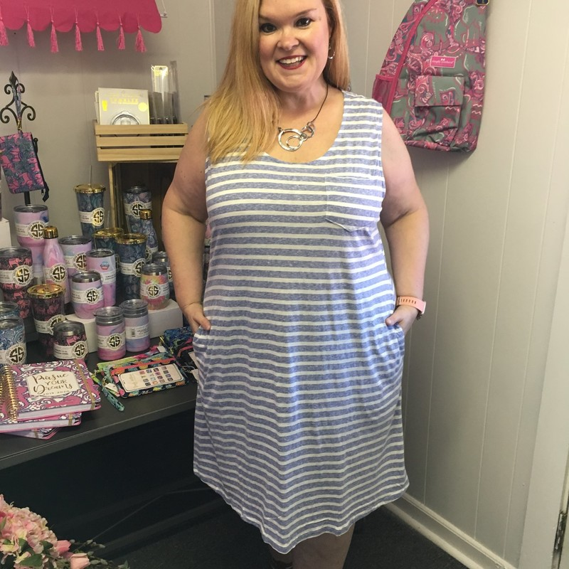 Simply Southern Sleeveless Striped Dress is now available and looks amazing on. You can wear this anywhere.  You can dress this up o dress it down.  The material has a lot of stretch made of 97% Polyester and 3% Spandex with a length of 37 inches.