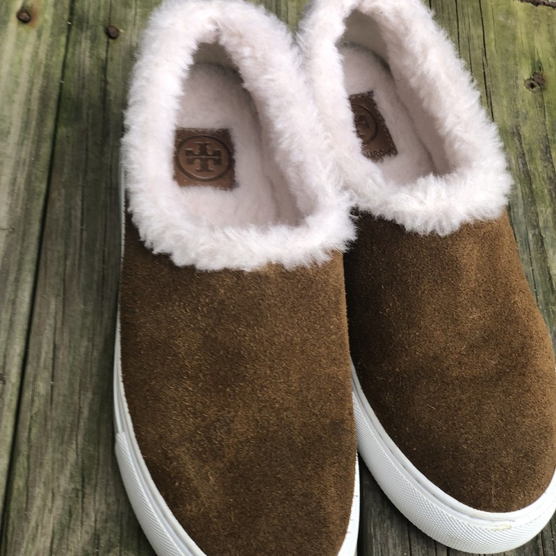 Tory Burch Sherpa Loafers, Brown, Size: 7<br /> Excellent condition