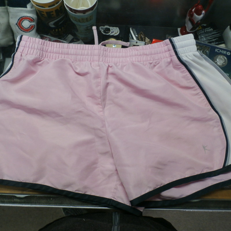"Danskin Now pink women's shorts size Medium (8-10) 100% polyester #31808<br /> Rating: (see below) 3- Good Condition<br /> Team: n/a<br /> Player: n/a<br /> Brand: Danskin Now<br /> Size: Women's Medium- (Measured Flat: Across waist 15""; Length 12"" inseam 4"")<br /> Color: pink<br /> Style: elastic waistband with drawstring; screen printed<br /> Material: 100% polyester<br /> Condition: 3- Good Condition: some fading and discoloration from use; tiny snags on white panels (see photos)<br /> Item #: 31808<br /> Shipping: FREE"