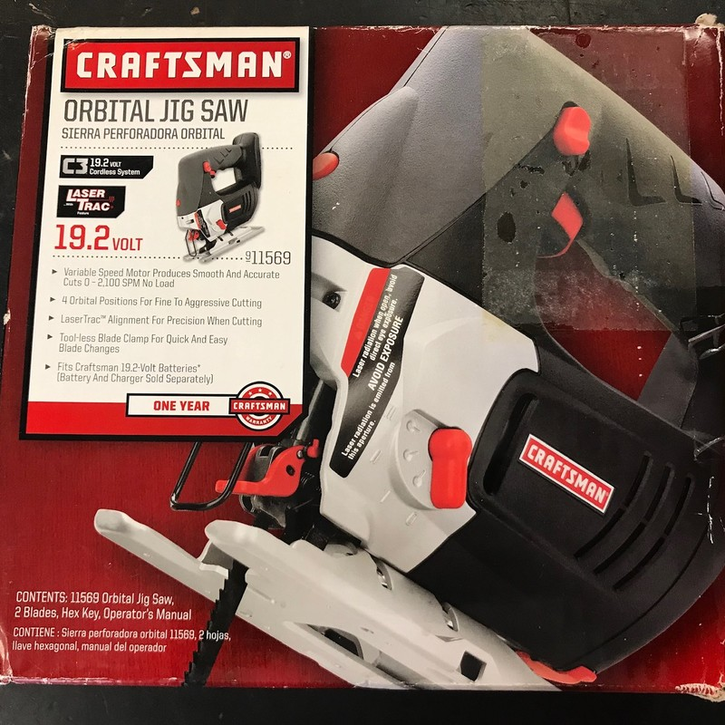 Craftsman 19.2V Orbital Jig Saw with Laser Trac<br /> <br /> *BARE TOOL ONLY*