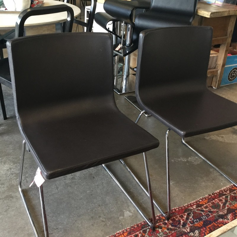 Set of 2 Bernhard Chairs, Brown, Also Available in Teal, Size: 19""