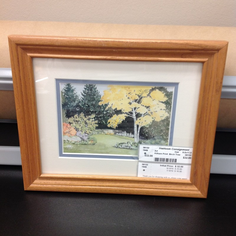 Kilham Print  Birch Tree, Oak, Size: 11.5x9.5