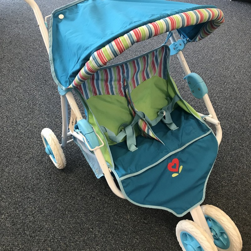 American Girl Double Doll Stroller W/canopy, excellent condition, folds easily