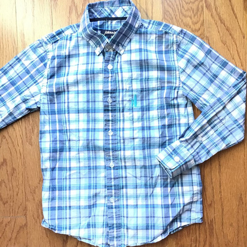 Johnnie O Shirt, Blue, Size: 8<br /> <br /> SMALL SPOT ON THE FRONT POCKET, SEE PHOTO<br /> <br /> <br /> ALL ONLINE SALES ARE FINAL. NO RETURNS OR EXCHANGES.