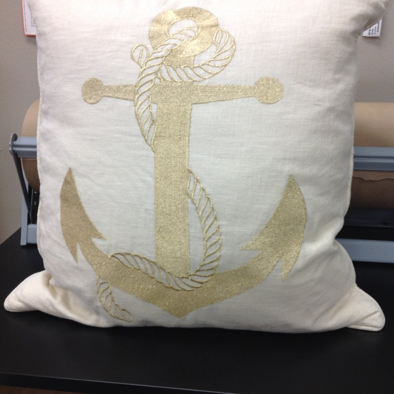 Metallic Anchor Pillow, Off Whte, Size: 20x20