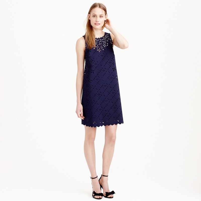 j. crew Laser-cut floral shift dress, navy size 10, EUC<br /> Straight silhouette.<br /> Falls above knee, 36 1/2&quot; from high point of shoulder<br /> <br /> &quot;We don&#039;t like to play favorites, but this dress is making it really hard. We laser-cut floral details into lightweight crepe and then added a scalloped hem for the ultimate spring-occasion dress. Bonus: It comes with a separate slip, so there are no awkward peekaboo moments.<br /> <br />     Poly/elastane, poly/viscose backing.<br />     Bra keeps.<br />     Back zip.<br />     Lined.&quot;