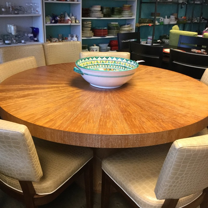 Crate & Barrell Round Dining Table, Walnut, Size: 5'