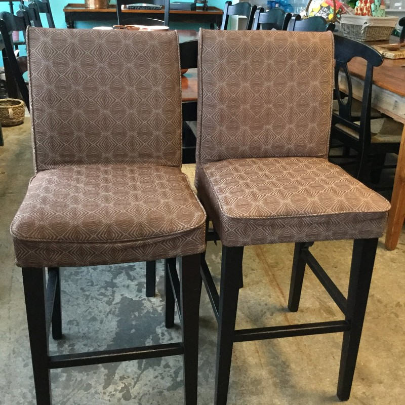 "Upholstered Bar Stools, Brown/Patterned, Pair, Size: 27"" AsIs"