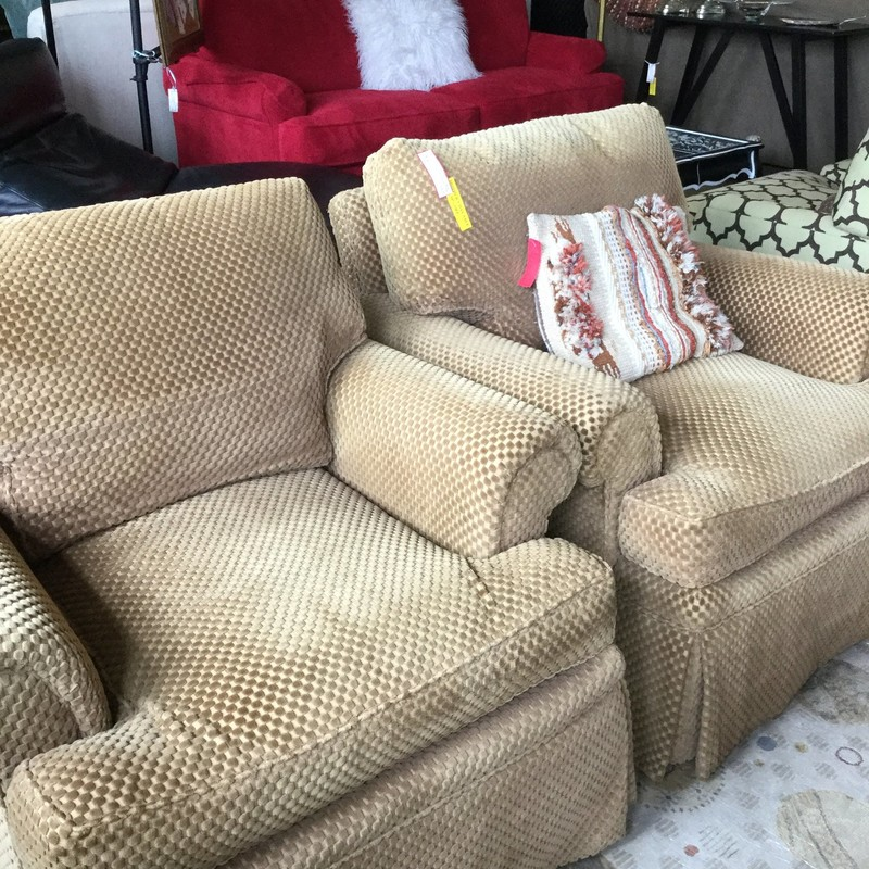 "Upholstered Gold Armchair, As Is, 2 Available, Size: 36""x36"""