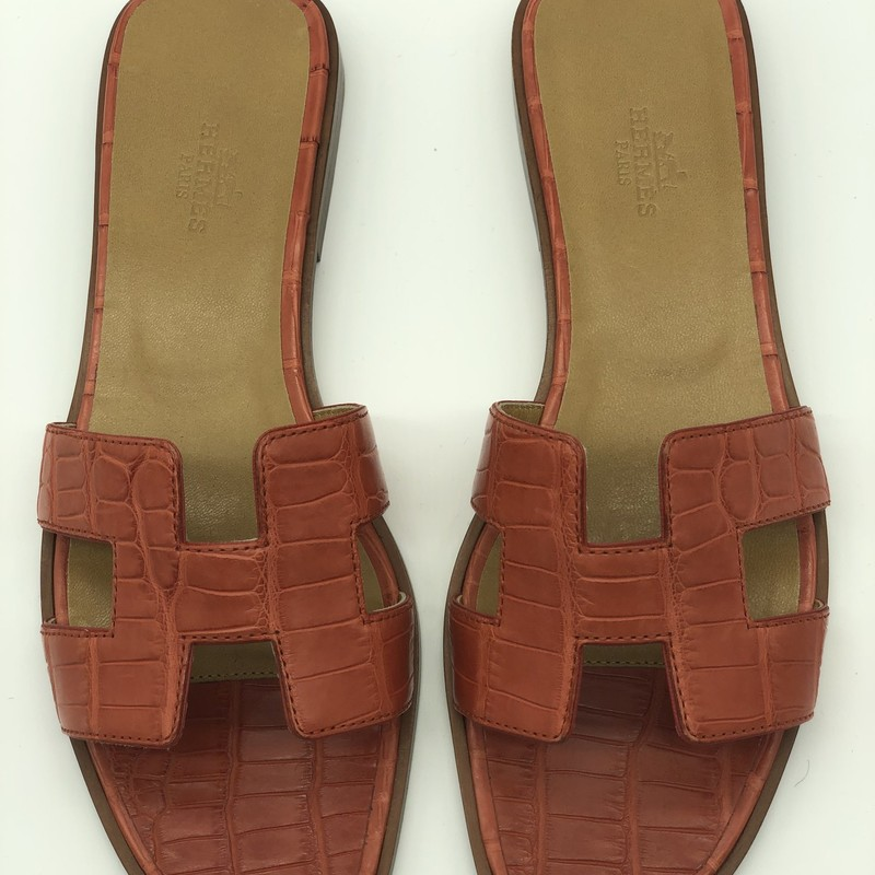 Hermes Oran Alligator, Orange, Size: 37<br /> <br /> Condition: EXCELLENT. Like new