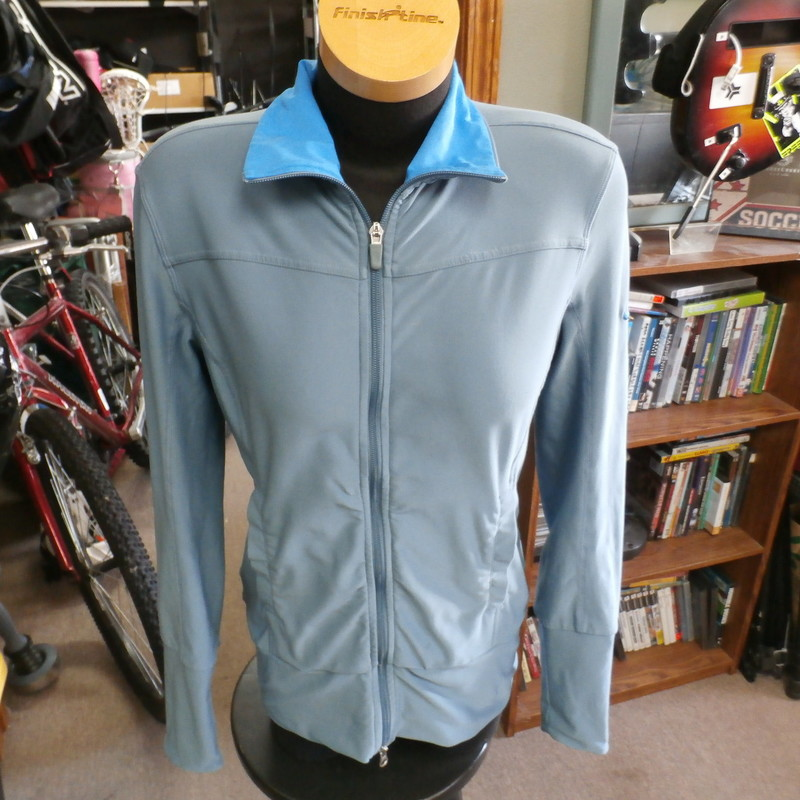 "Nike Fit Dry full-zip athletic jacket blue size medium polyester blend #32037<br /> Rating: (see below) 3- Good Condition<br /> Team: n/a<br /> Player: n/a<br /> Brand: Nike<br /> Size: Women's Medium- (Measured Flat: Across chest 19""; Length 26"")<br /> Measured Flat: underarm to underarm; top of shoulder to bottom hem<br /> Color: blue<br /> Style: long sleeve; embroidered<br /> Material: 88% polyester 12% spandex<br /> Condition: 3- Good Condition: material feels fresh and soft; light stains on lower front (see photos)<br /> Item #: 32037<br /> Shipping: FREE"